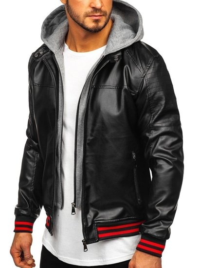 Men's Hooded Leather Jacket Black-Red Bolf HY616