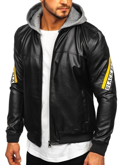 Men's Hooded Leather Jacket Black-Yellow Bolf HY614