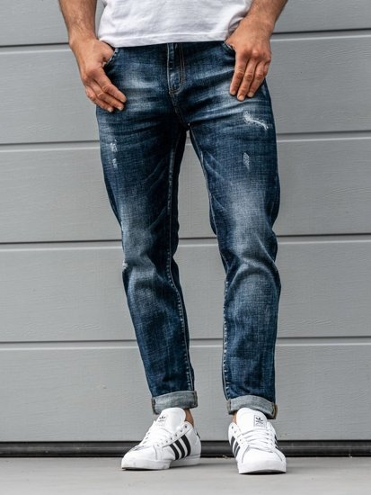 Men's Jeans Relaxed Fit Navy Blue Bolf KX273