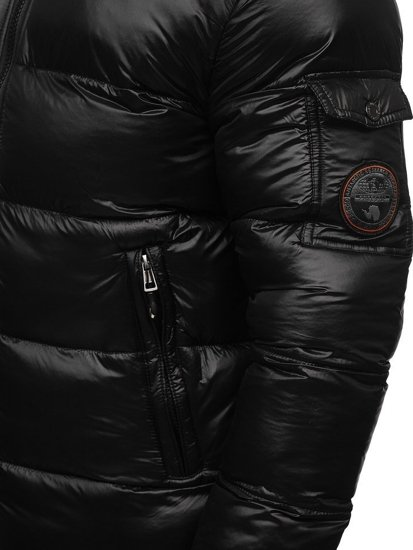 Men's Quilted Down Winter Jacket Black Bolf K65