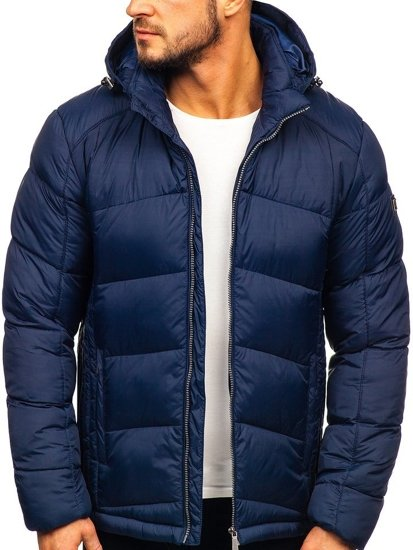 Men's Quilted Down Winter Jacket Navy Blue Bolf AB102
