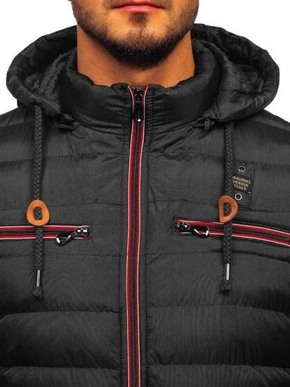 Men's Quilted Transitional Down Jacket Black Bolf 50A172