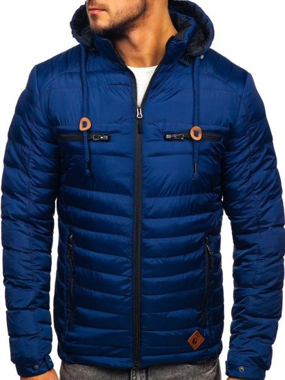 Men's Quilted Transitional Down Jacket Navy Blue Bolf 50A94