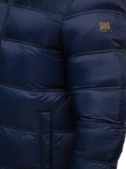 Men's Quilted Winter Sport Jacket Navy Blue Bolf AB72