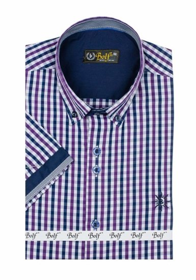 Men's Short Sleeve Checkered Shirt Violet Bolf 4510