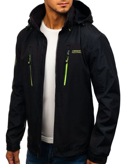Men's Softshell Jacket Black-Green Bolf 2345