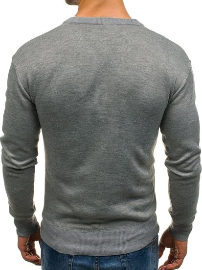 Men's V-neck Jumper Grey Bolf s001