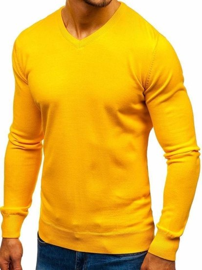 Men's V-neck Sweater Yellow Bolf 2200