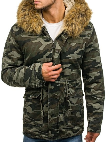Men's Winter Parka Jacket Camo-Green Bolf B3707