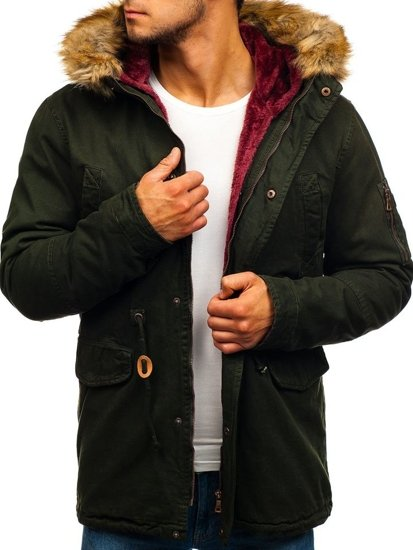 Men's Winter Parka Jacket Green-Claret Bolf 4664