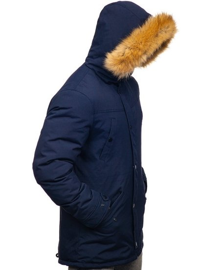 Men's Winter Parka Jacket Navy Blue Bolf 1972