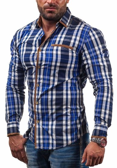 Navy Blue Men's Checked Long Sleeve Shirt Bolf 100