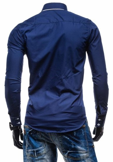 Navy Blue Men's Elegant Long Sleeve Shirt Bolf 1721