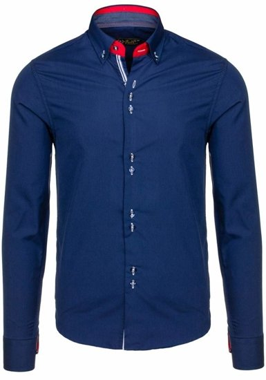 Navy Blue Men's Elegant Long Sleeve Shirt Bolf 5794