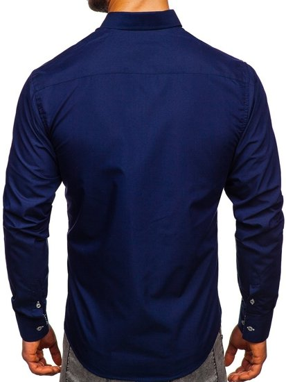 Navy Blue Men's Elegant Long Sleeve Shirt Bolf 5796