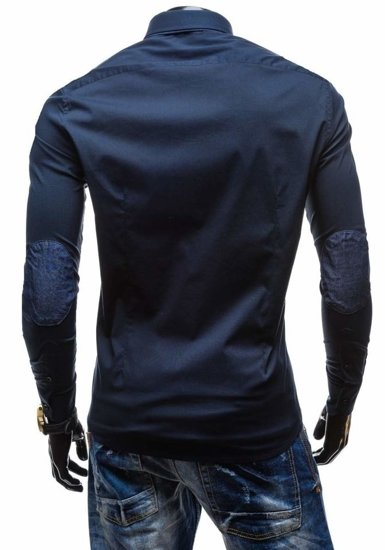 Navy Blue Men's Elegant Long Sleeve Shirt Bolf 7187