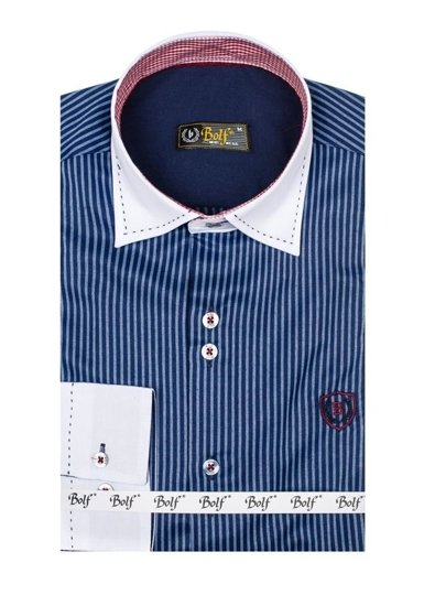 Navy Blue Men's Elegant Striped Long Sleeve Shirt Bolf 4784