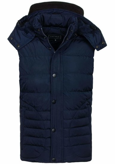 Navy Blue Men's Hooded Vest Bolf 3023