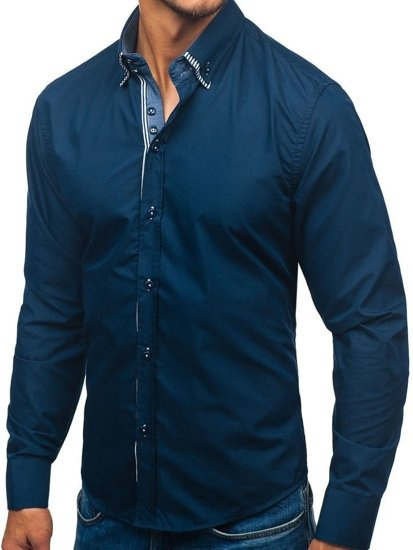 Navy Blue Men's Long Sleeve Shirt Bolf 2774