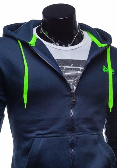 Navy Blue Men's Printed Hoodie Bolf 4561