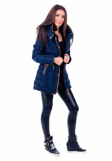 Navy Blue Women's Winter Jacket Bolf 012B