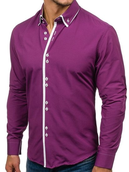 Purple Men's Elegant Long Sleeve Shirt Bolf 1721