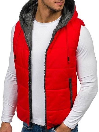 Red Men's Hooded Vest Bolf 009