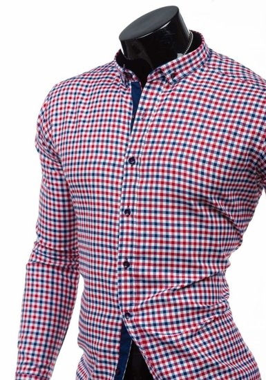 Red-Navy Blue Men's Checked Long Sleeve Shirt Bolf 2145