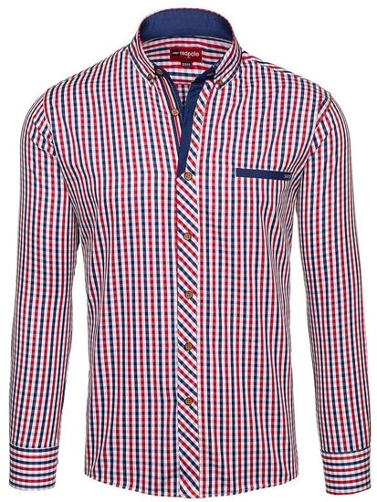 Red-Navy Blue Men's Checked Long Sleeve Shirt Bolf 2146