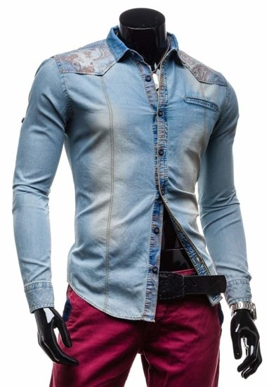 Sky Blue Men's Denim Patterned Long Sleeve Shirt Bolf 6293