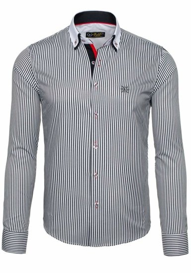 White-Black Men's Elegant Striped Long Sleeve Shirt Bolf 5758