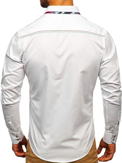 White Men's Elegant Long Sleeve Shirt Bolf 3701