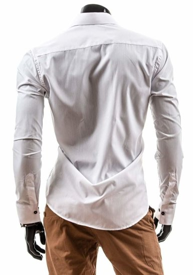 White Men's Elegant Long Sleeve Shirt Bolf 3714