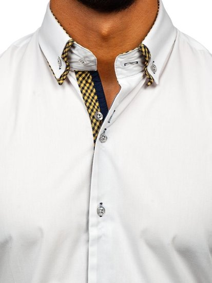 White Men's Elegant Long Sleeve Shirt Bolf 4708
