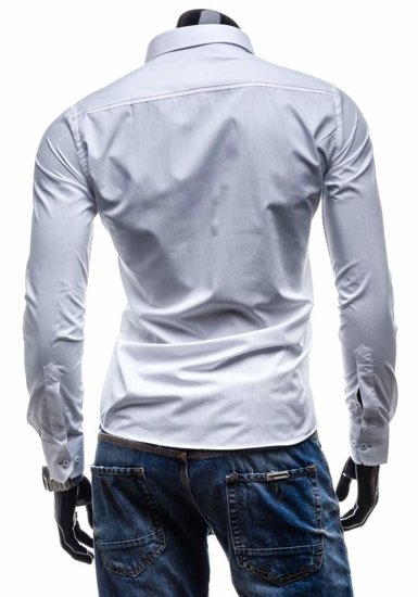 White Men's Elegant Long Sleeve Shirt Bolf 4710