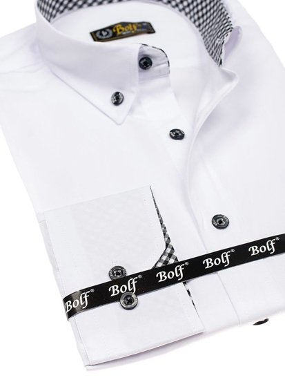 White Men's Elegant Long Sleeve Shirt Bolf 4711