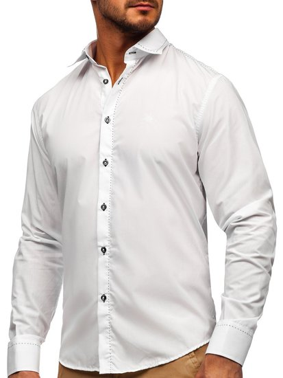 White Men's Elegant Long Sleeve Shirt Bolf 4719