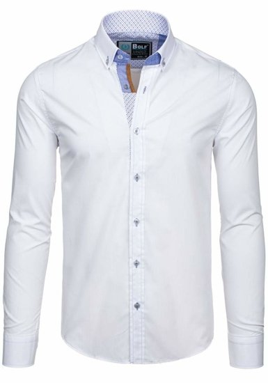 White Men's Elegant Long Sleeve Shirt Bolf 5777