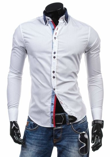 White Men's Elegant Long Sleeve Shirt Bolf 5824