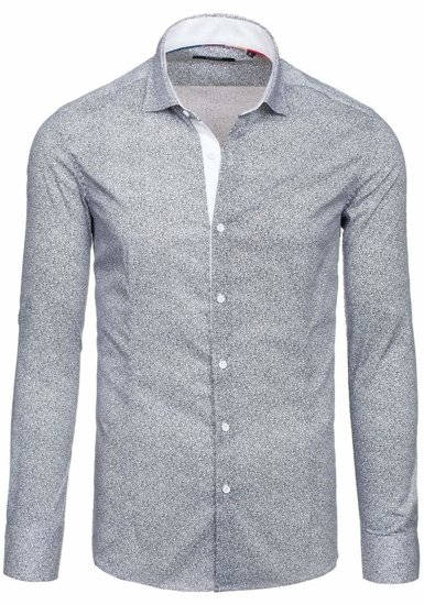 White Men's Elegant Long Sleeve Shirt Bolf 7182
