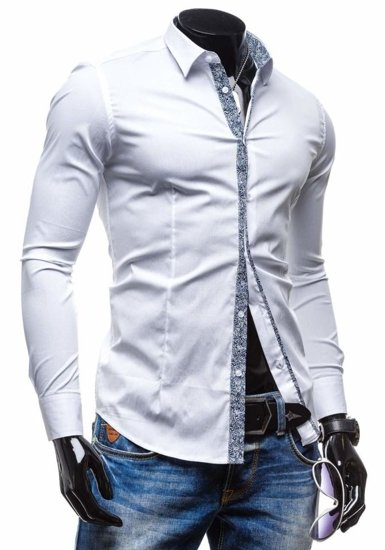 White Men's Elegant Long Sleeve Shirt Bolf 7189
