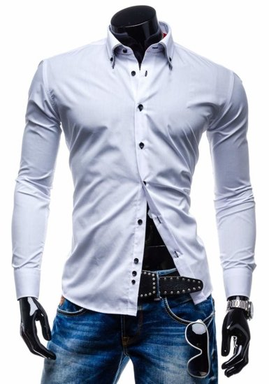 White Men's Elegant Long Sleeve Shirt Bolf C02