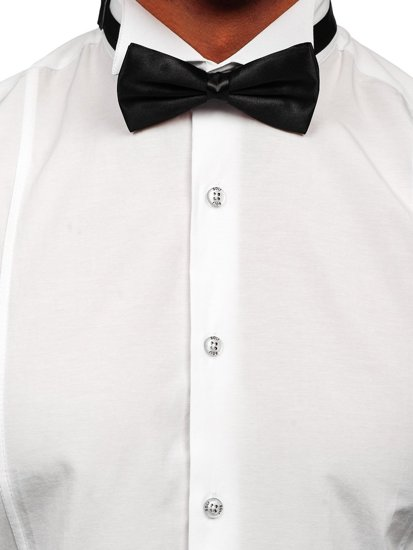 White Men's Long Sleeve Shirt Bolf 4702 Bow Tie + Cufflinks