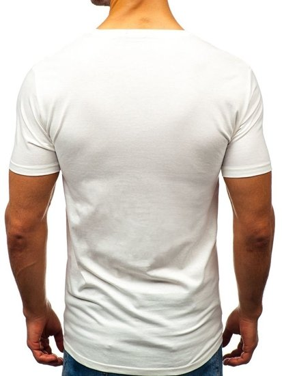 White Men's Printed T-shirt Bolf 7483