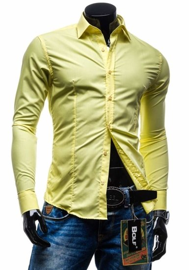 Yellow Men's Elegant Long Sleeve Shirt Bolf 1703