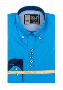 Azure Blue Men's Elegant Long Sleeve Shirt Bolf 5787