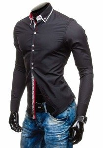 Black Men's Elegant Long Sleeve Shirt Bolf 5818