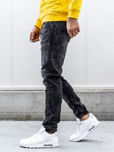 Men's Denim Joggers Black Bolf KK1066
