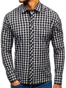 Men's Elegant Checked Long Sleeve Shirt Black Bolf 4747