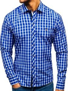 Men's Elegant Checked Long Sleeve Shirt Royal Blue Bolf 4747